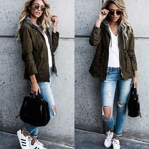 Jackets & Blazers - Olive cotton/cargo contrast jacket